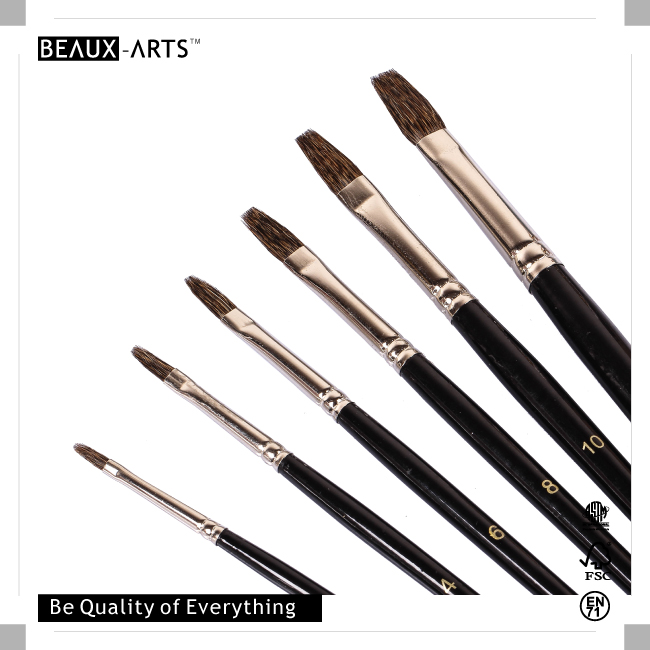 Professional Flat 100% Squirrel Hair Art Brushes with Nickle Plated Brass Ferrule and Short Black Wooden Handle