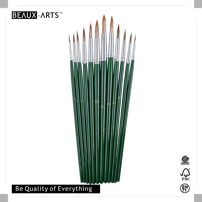 Round Acrylic Brushes with High Quality Ox Ear Hair and Long Green Handle