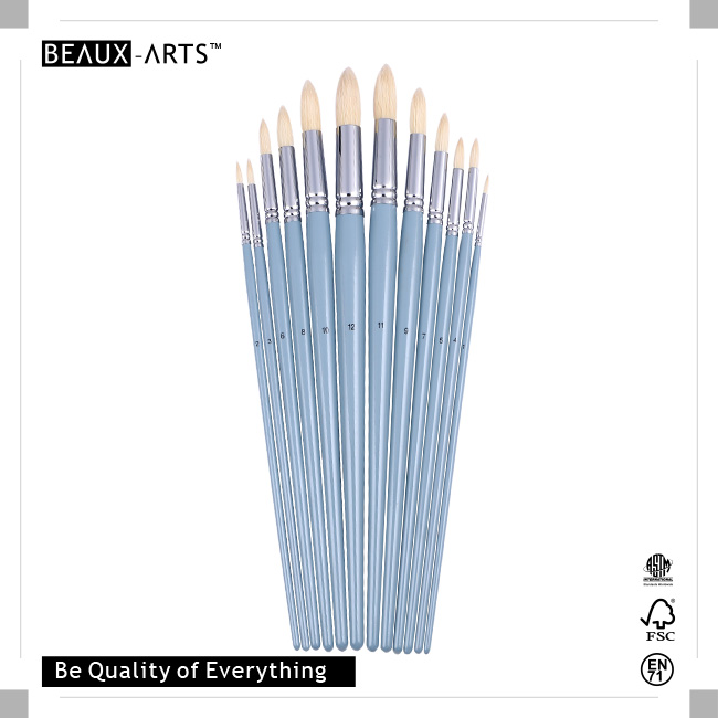 Round Acrylic Brushes with Pure Chungking Top Quality Bristle and Long Premium Grey Birchwood Handle