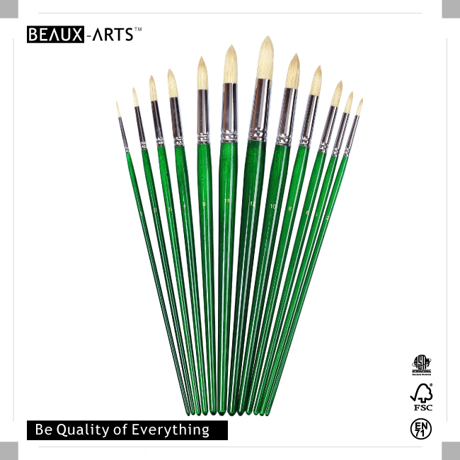Round Best Brushes with Interlocked Chungking Top Quality Bristle and Long GreenTransparent Varnished Birchwood Handle