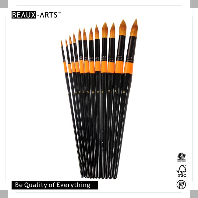Round Bicolor Golden Premium Synthetic Acrylic Brushes with Black Long Birchwood Handle and Golden Ring