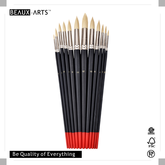 Round Oil and Acrylic Brush with Synthetic Nylon Hair and Imitation Bristle Hair Brass Ferrule and Long Black Handle with Red Tip