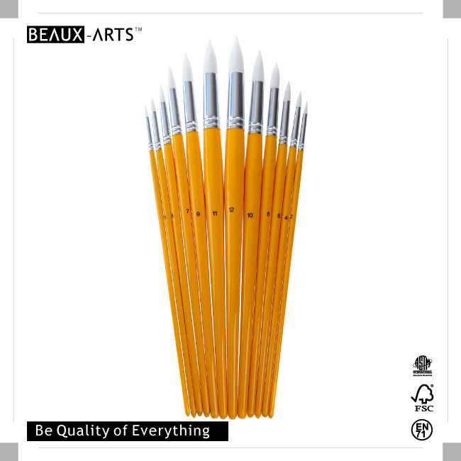 Round Premium Synthetic Professional Artist Brush with Bright Yellow Long Birchwood Handle