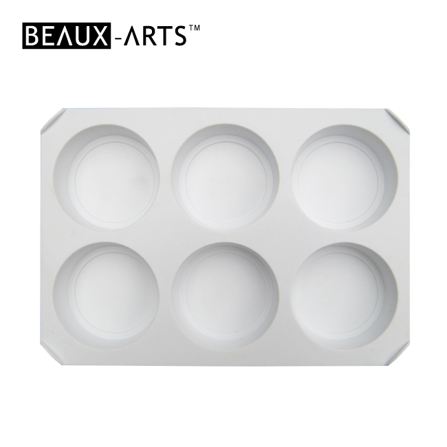 Rectangle Professional White Plastic Palette  with 6 Wells