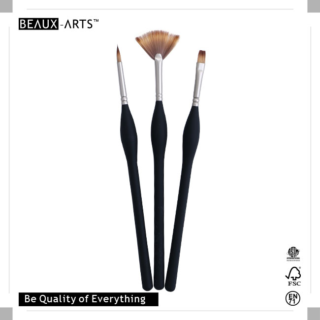 The Best Affordable Brush Set with Pearl Nickle Plated Brass Ferrule and Medium Length Big Belly Comfortable Touch Wooden Handle, Suitable for Artists Usage