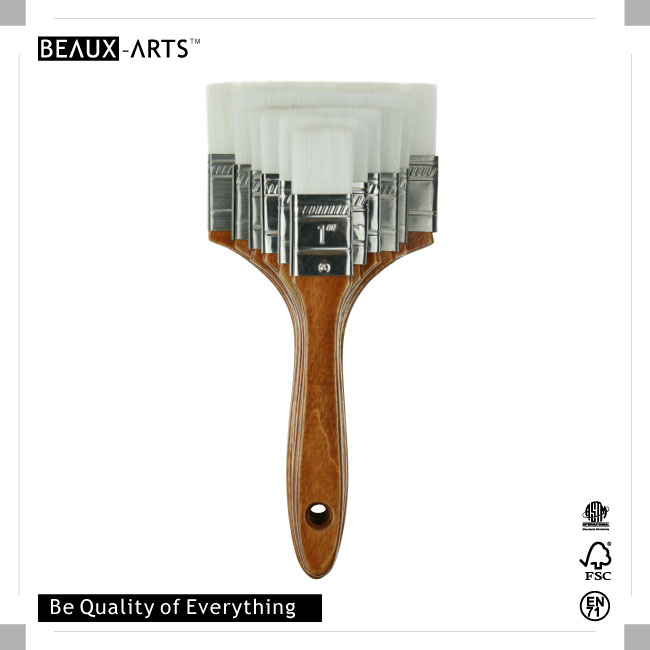 The Professional Extra Firm Nylon Hair Flat Brush with Stainless Steel Ferrule and Comfortable Wooden Handle