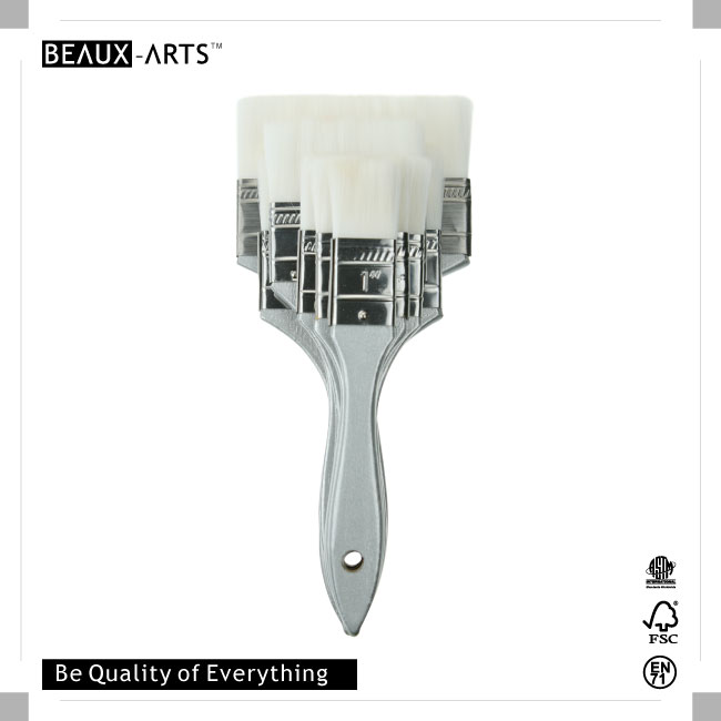 The Professional Extra Soft Nylon Hair Flat Brush with Stainless Steel Ferrule and Wooden Red Tip Handle