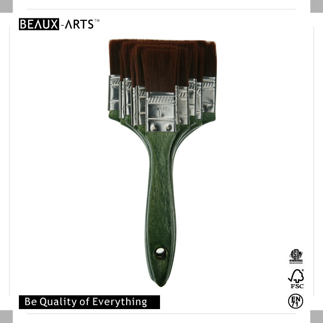 The Professional Firm Nylon Hair Flat Brush with Stainless Steel Ferrule and Comfortable Wooden Handle