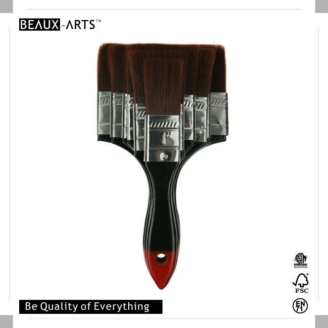 The Professional Firm Nylon Hair Flat Brush with Stainless Steel Ferrule and Wooden Red Tip Handle