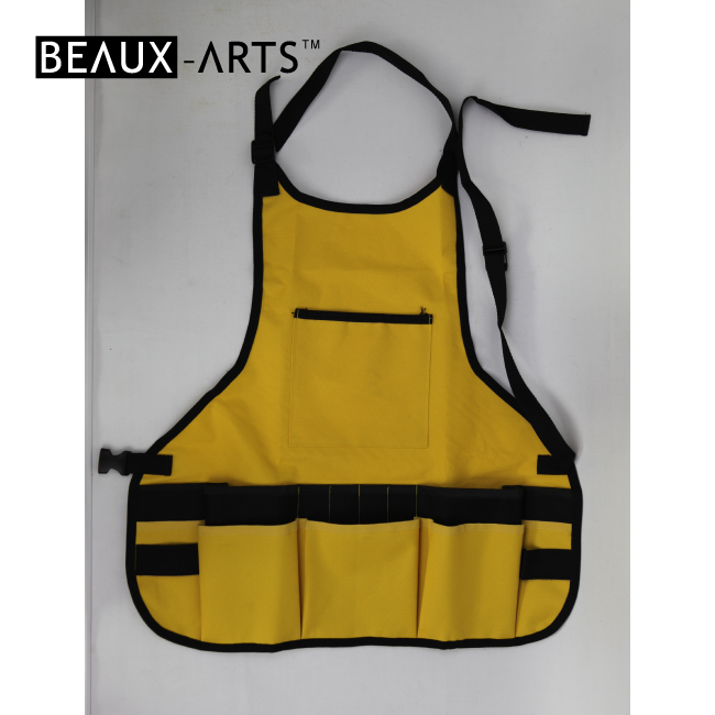 Yellow Oxford Fabric Waterproof Artist Apron with Multi Pockets