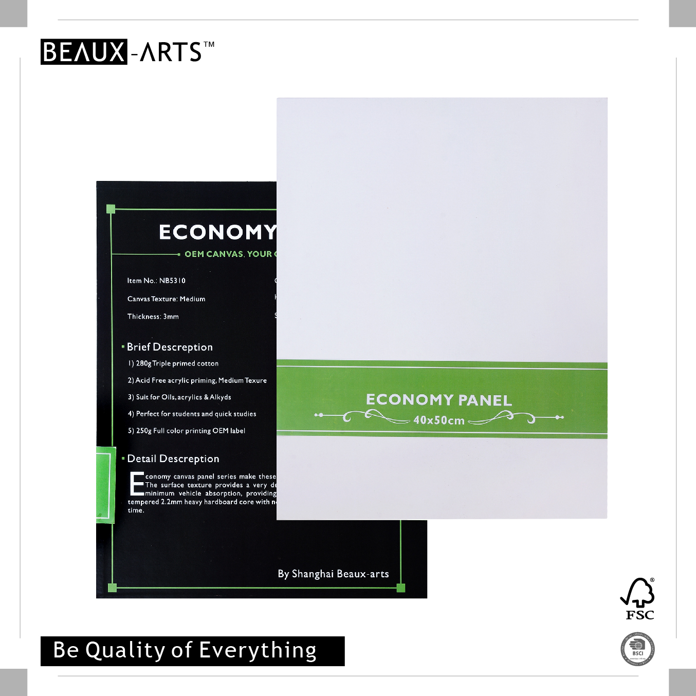 280g Economy Triple Primed Cotton Cheap Artist Canvas Panel for Sale 3mm Thickness Prefect for Quick Studies