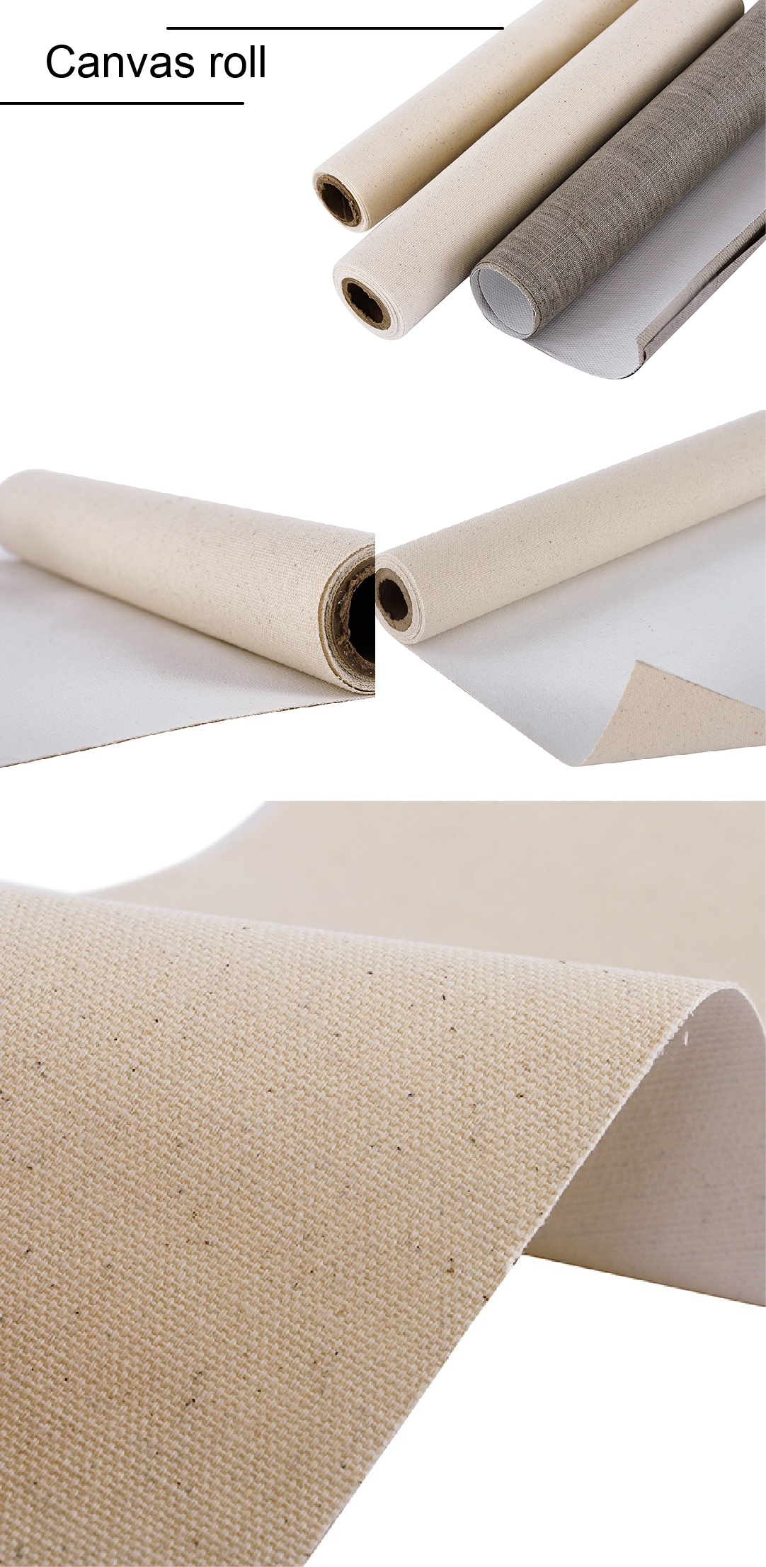 420g 45% Cotton&55% Linen Stretched Canvas Roll With Rough Texture