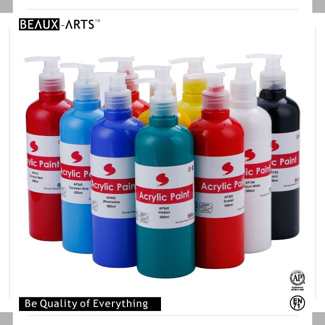 Non-toxic 500ml Bottled Acrylic Paint for Acrylic Painting