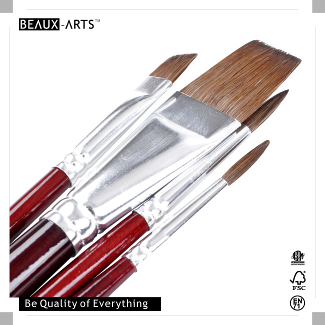 Beaux-Arts Education Series for Watercolor and Acrylic Paint Pony Hair Artist Brush Set Value Pack with Aluminum Ferrule