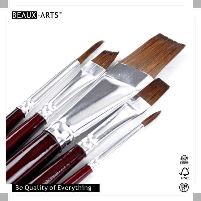 Watercolor and Acrylic Paint Education Series Pony Hair Art Paint Brush Set OPP Value Pack
