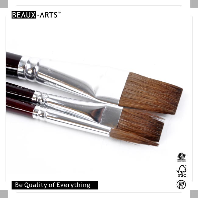 Beaux-Arts Education Series Pony Hair Artist Brush with Aluminum Ferrule for Watercolor and Acrylic Painting