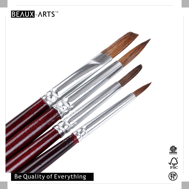 Watercolor and Acrylic Paint Education Series Pony Hair Art Paint Brush OPP Set Value Pack with Aluminum Ferrule