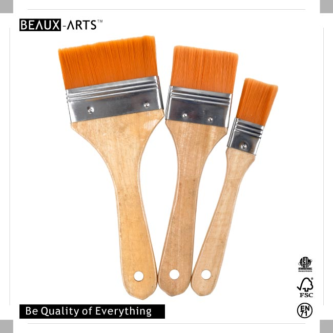The Best Affordable Golden Nylon Hair Flat Brush with Tin Ferrule, Suitable for Students and Beginners