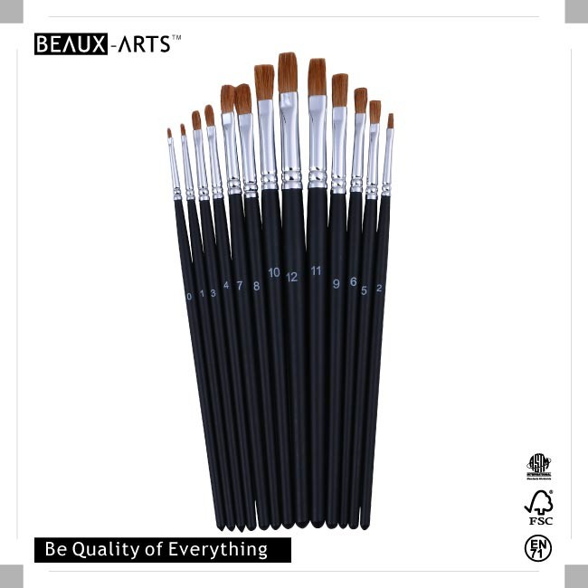 Flat Sable Hair Art Brushes with Nickle Plated Brass Ferrule and Short Mart Black Handle