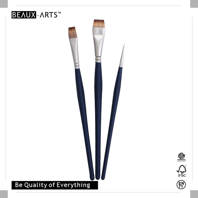The Best Affordable Brush Set with Pearl Nickle Plated Brass Ferrule and Medium Length Triangle Easy Grip Comfortable Touch Wooden Handle, Suitable for Artists Usage