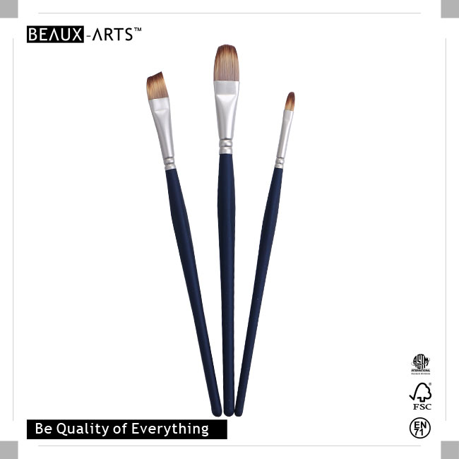 Professional Brush Set Pack with Pearl Nickle Plated Brass Ferrule and Medium Length Triangle Easy Grip Comfortable Touch Wooden Handle, Excellent For Acrylic Painting
