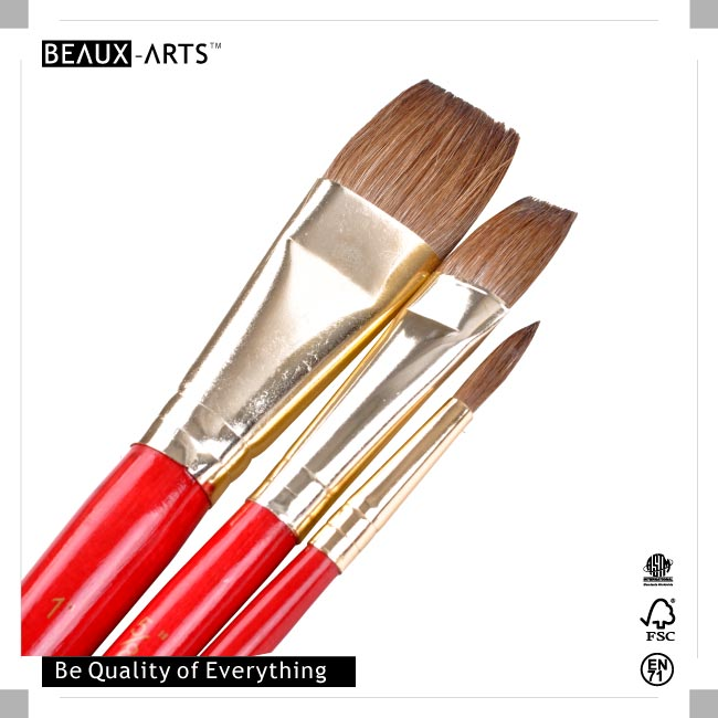 Pony Hair Art Paint Brush Using for Watercolor and Acrylic Paint with OPP Value Pack
