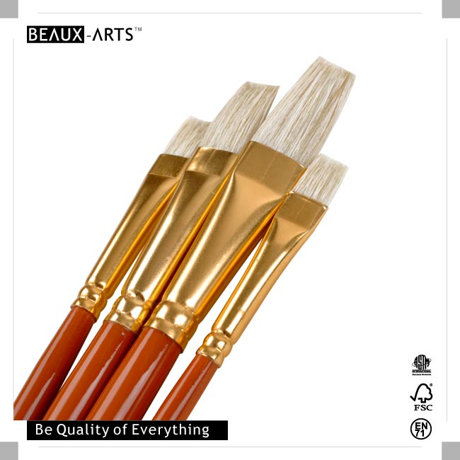Education Series Hog Bristle Art Paint Brush Set Value Pack For Watercolor and Acrylic Painting