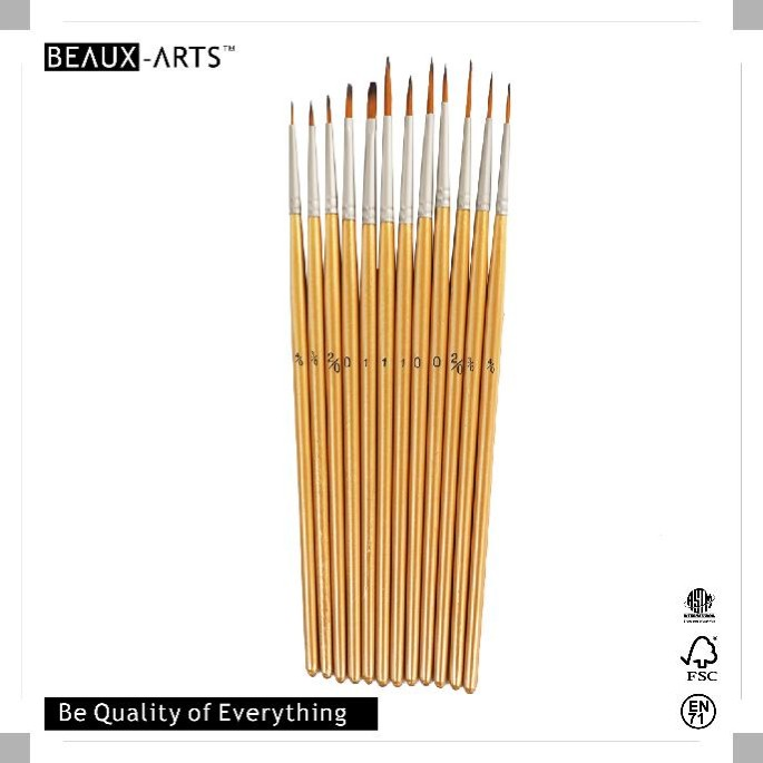 Good Quality Bi-color Synthetic Acrylic Paint Brush Set With Pear Nickle Plated Brass Ferrule
