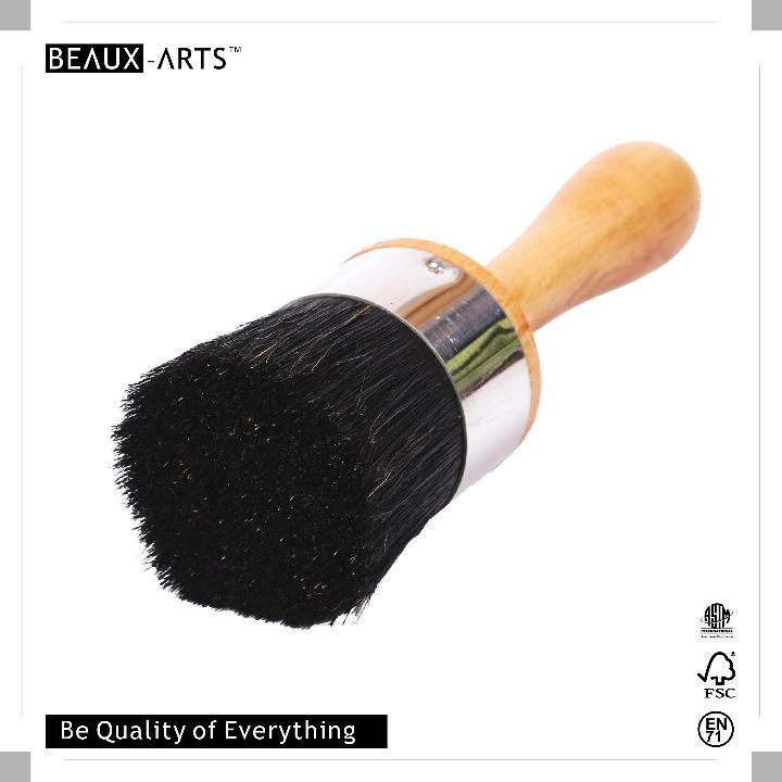 Round Beech Wooded Black Bristle Stencil Brush with Stainless Steel Ferrule for Decoration