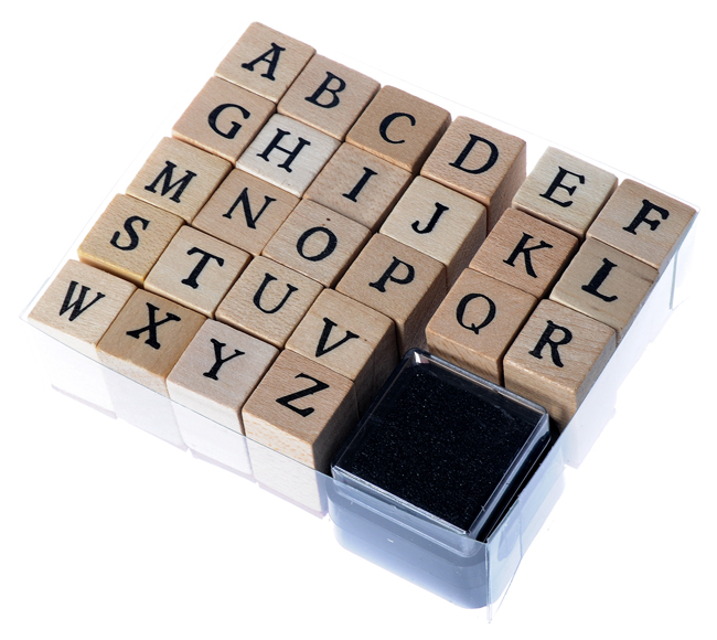 26 Alphabet Square Wooden Stamp Funny for Kids