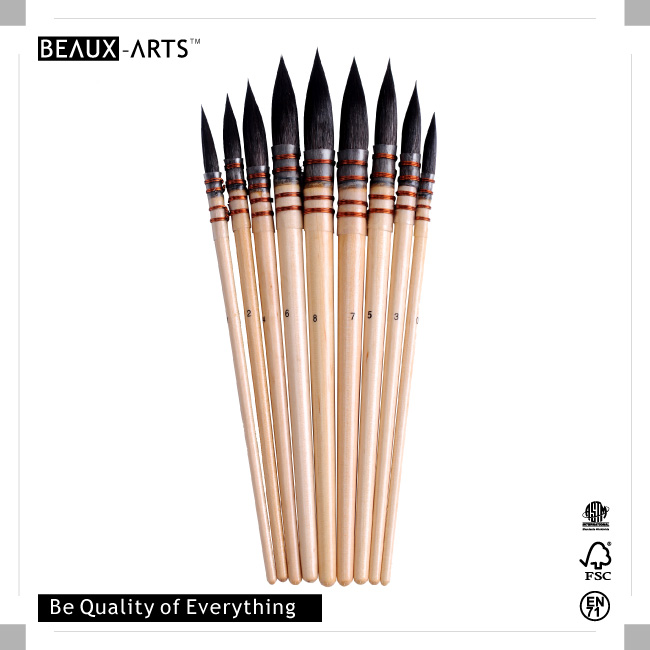 100% Round Badger Hair Watercolor Paint Brushes with Traditional Technology