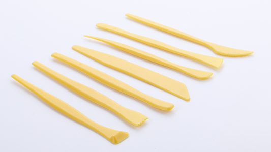 Assorted Shape Yellow Plastic Modeling Tools Pack of 7