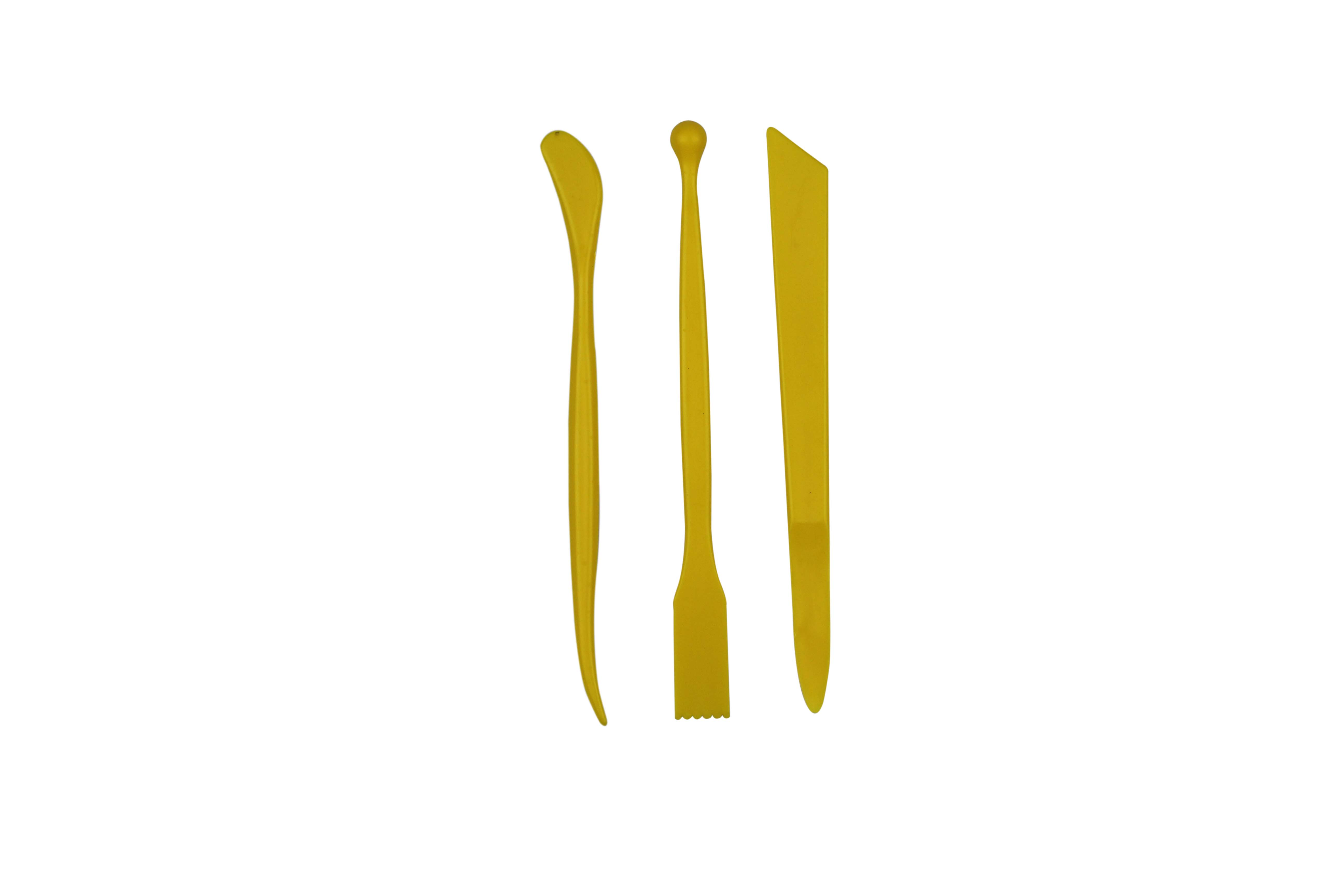 Assorted Shapes Yellow Plastic Modeling Tool Set Pack of 3