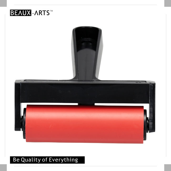 Deluxe Hard 4inch(10cm) Rubber  Brayer with Black Easy-Grip Handle
