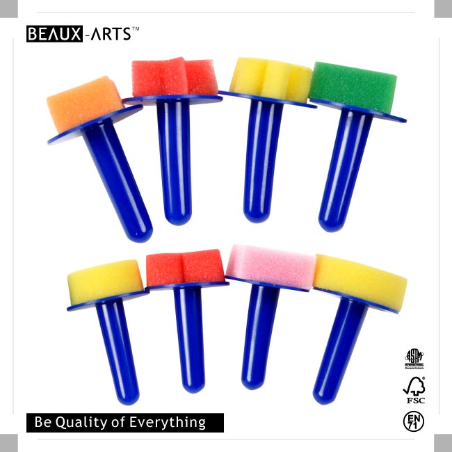 Colorful Geometric Shapes Foam Stamps with Plastic Handle