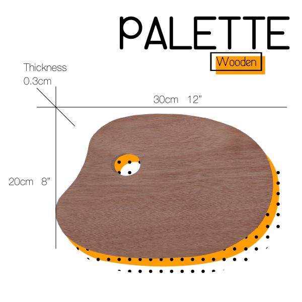 Oval Wooden Paint Palette