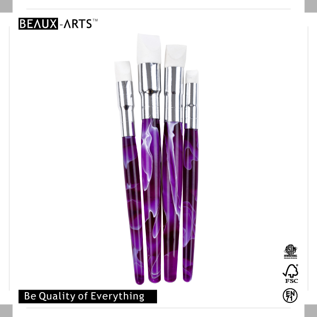 4 Pieces Silicone Brushes Set with Purple Short Acrylic Handle for Oil and Nail Paint