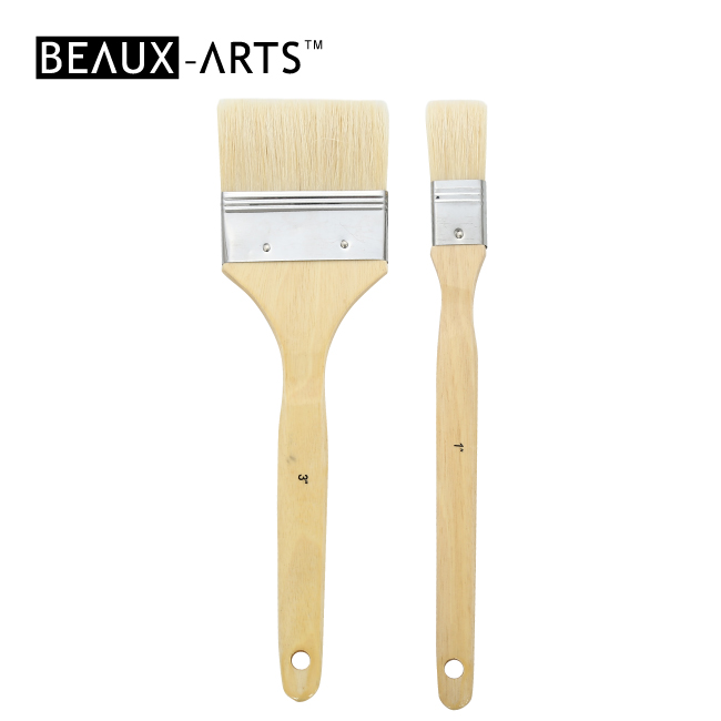 Bleached Hog Bristle Flat Brushes with Tin Ferrule for Acrylic Painting and Oil Painting