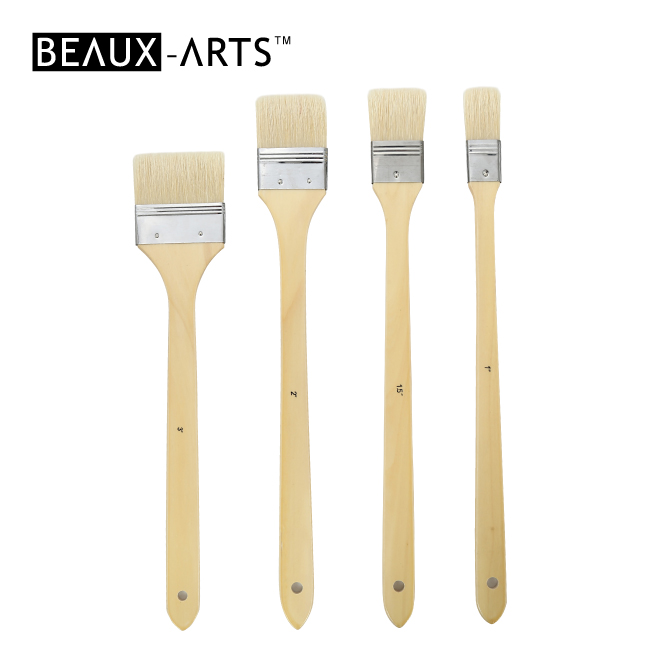 Hog Bristle Flat Paint Brushes with Long Birchwood Handle for Oil Painting and Acrylic Painting