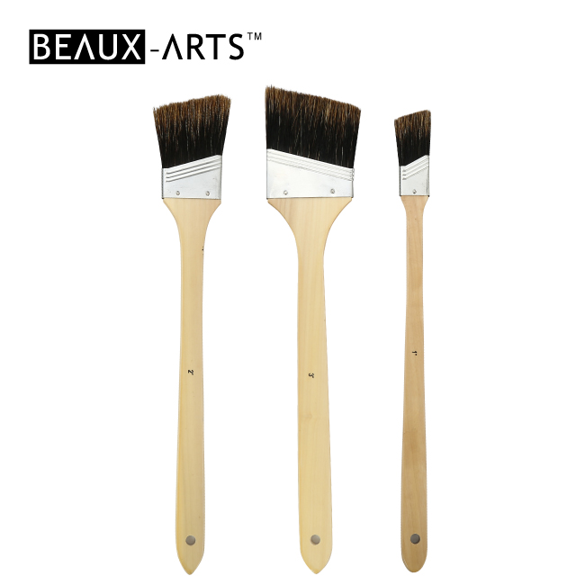 Angular Boar Bristle Art Paint Brushes with Long Wooden Handle for Art Painting