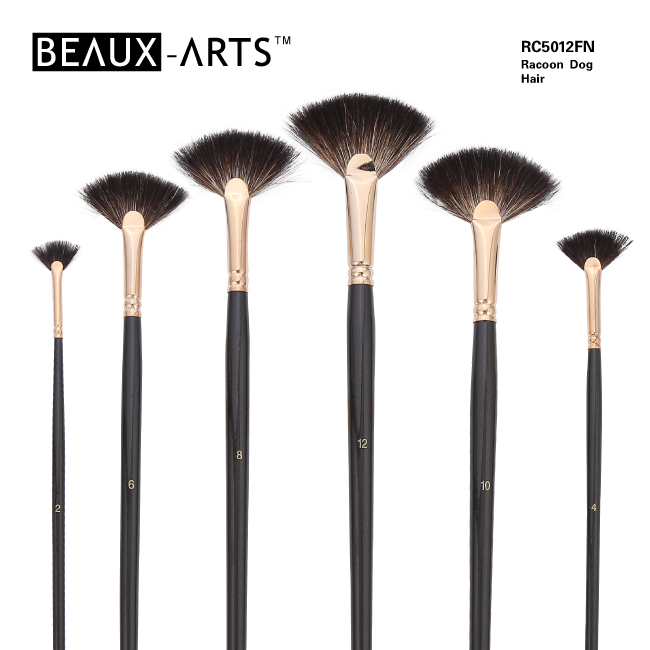 Fan Pure Racoon Dog Hair Artist Brushes with Golden Plated Brass Ferrule for Oil Painting and Acrylic Painting