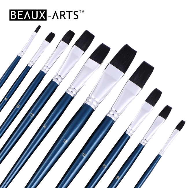 Flat Synthetic Blue Squirrel Hair Watercolor Brushes with Blue Handle